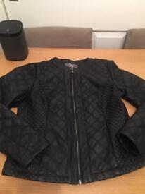 Black Biker Leather Look Jacket