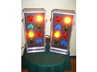 Retro Lighting Effect. 4 channel, sound activated Christmas Party Lights in fold-open aluminium case