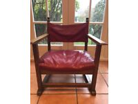 1929 E Gomme Leather & Solid Oak Fireside Chair