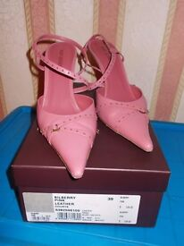 Kurt Geiger Bilberry Pink Leather Court Shoes - Size 39 / UK 6 1/2