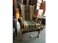 Striped fabric fireside chair