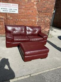 Maroon large 2 seater and footstool