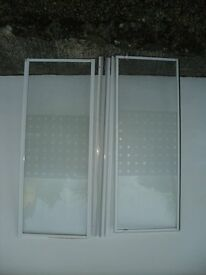 L shaped white shower screen