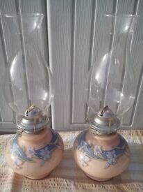 MATCHING PAIR BEAUTIFUL FLORAL DECORATED CERAMIC OIL/PARAFFIN LAMPS IN PEACH/PALE BLUE – KAADAH 1980