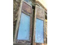 Hardwood half-glazed French doors with two fixed side panels