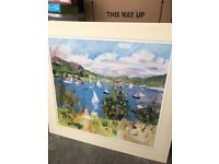 COLOURFUL SEASIDE ART PRINT WITH MOUNT