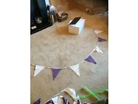2 x 20m lengths of ivory and purple bunting