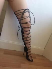 Thigh high lace front open toes heels