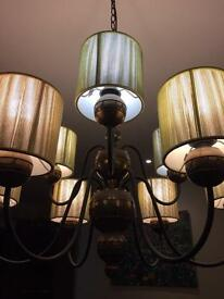Fabulous 9 lamp Bronze Chandelier with gold shades £175 Ono.