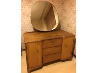 1960s Vintage Dressing Table with large mirror solid wood
