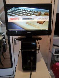 """Computer HP AMD A6-5400 4GB DDR3 + Toshiba 22"""" HD ready"""