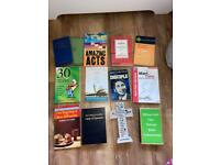 Religious books and bible with cross bundle