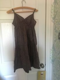 H&M brown polka dot below the knee summer dress with adjustable straps