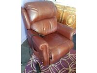 Sherbourne Comfy Rise and Recline Armchair Remote Control Brown leather FREE delivery
