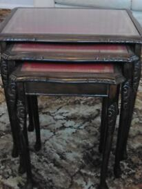 Traditional vintage glass topped nest of 3 tables