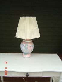 Pink Chinese Style Table Lamp with Flowers and Butterflies with a Cream Lampshade. Can Deliver.