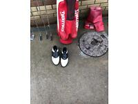 Set golf clubs and shoes
