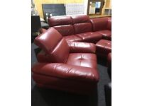 High quality leather corner suite,armchair,two footstools-exDisplay