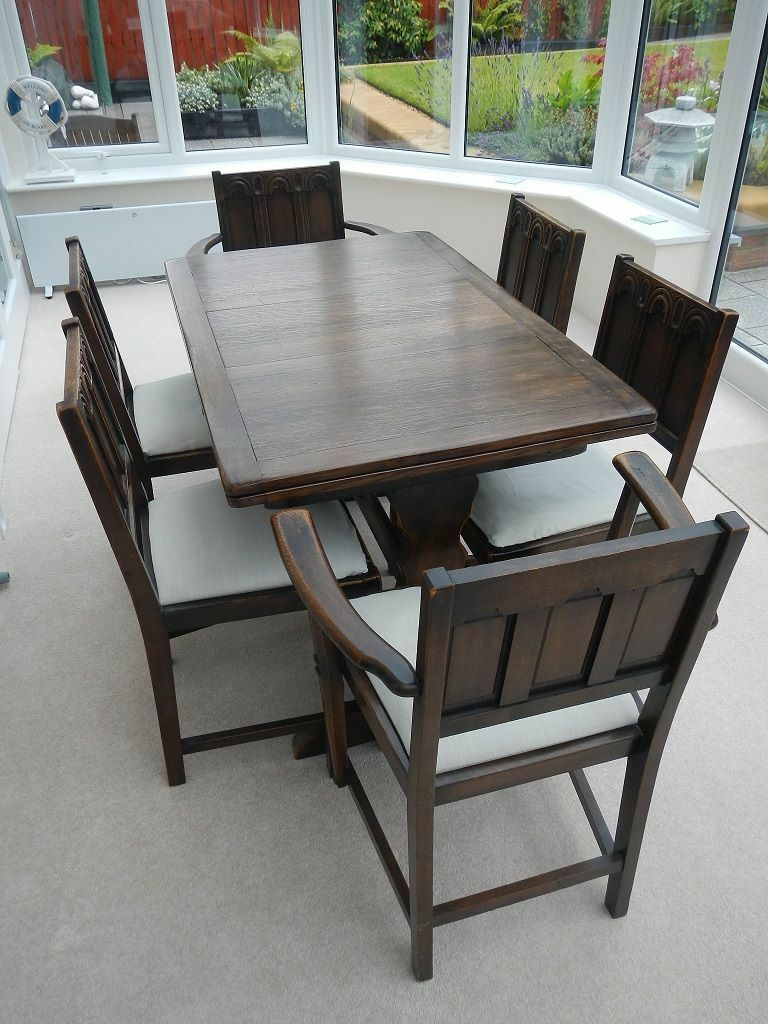 Ercol Dining Table with Six Chairs incl 2 Carvers in  : 86 from www.gumtree.com size 768 x 1024 jpeg 135kB