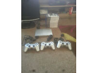 for sale PS2 - console Slim #silver (incl. 3 Controllers +10 games £25