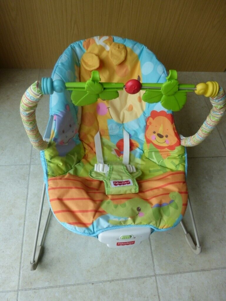 1c0dfa5a9c66 fisher price colourful animal design cover on vibrating baby bouncer ...