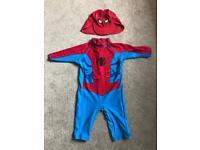 Spiderman children's / boys sun safe all in one swim suit age 3-4