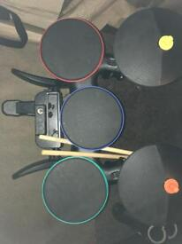 Wii band hero drum set, guitar and game.