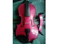 Raspberry Pink Harlequin Stentor Violin 3/4 size
