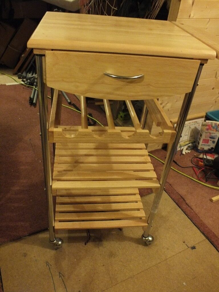 kitchen trolley 1 drawer wine rack and 2 shelves in