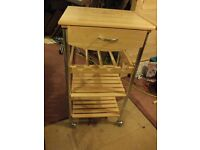Kitchen Trolley - 1 drawer, wine rack and 2 shelves