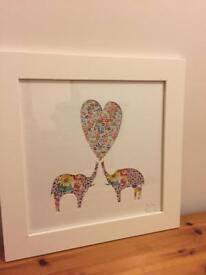 Bertie & Jack 'True Love' elephant heart picture and frame