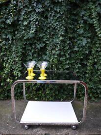 Vintage Retro 1980's Designer chrome glass two-tier hostess drinks Trolley Table