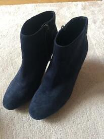 Blue suede ladies ankle boots M&S
