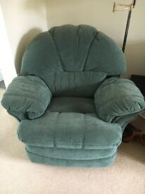 Two recliner seats with foot rest and large sofa - racing green, velour - will split - see prices
