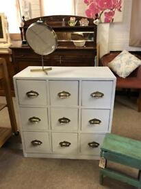Multidrawer Chest Of Drawers Industrial Solid Wood Grey