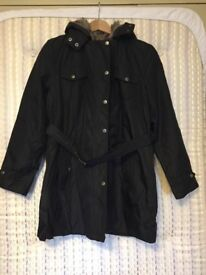 Size 8-10 Lightweight Water Resistant Jacket with Removeable Faux Fur Lining
