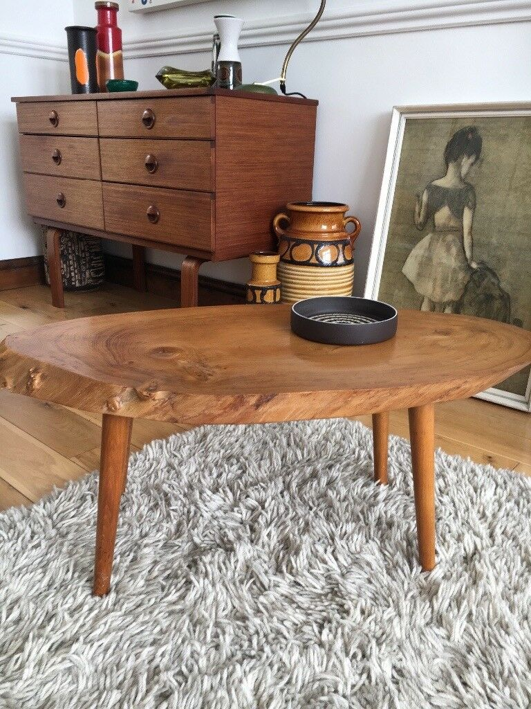Mid century, vintage slab of wood coffee table