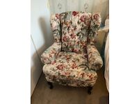 2x Queen Anne Floral Armchairs