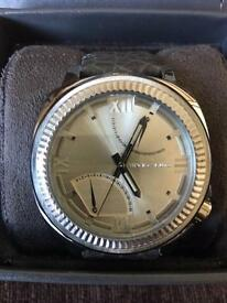 Vince Camuto Men's 'The Veteran' Silver-Tone Dial Dark Grey Leather Strap Watch NEW