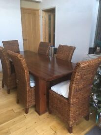 Extendable dining table & chairs