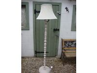 Turned Solid Timber White Standard Lamp With Shade.