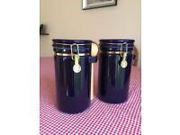 STORAGE JARS (2) BLUE GLASS