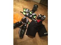 Ice hockey kit worn one season only age approx 13 Years