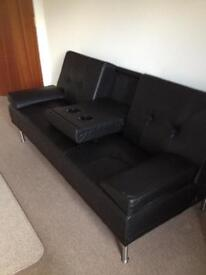 *SOLD PENDING PICK UP* Black Leather Sofa Bed