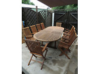 EXTRA LARGE EXTENDABLE TABLE AND 10 CHAIRS
