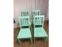 4 Painted mint green dining chairs - FAST SALE