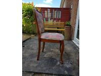 Padded solid wood dining chairs. Excellent condition. 4 chairs