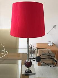 Chrome & red table lamp