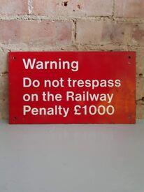 Railway Signage - Red Warning Trespass Sign