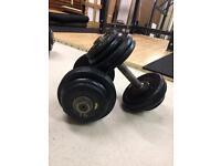 (30kg) Pair 15kg Old School Dumbbells - Bodybuilding / Powerlifting